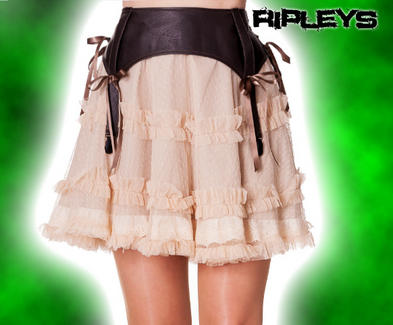 HELL BUNNY Steam Punk Cream SALLY SKIRT Goth Ruffle Bondage All Sizes